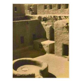 Vintage, mud brick courtyard, Algeria Postcard