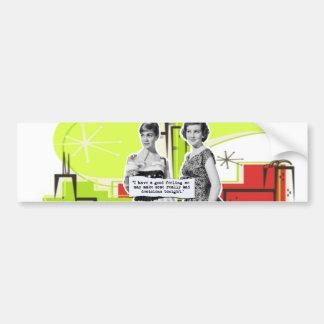 Vintage mujer dos con intenciones modernas del día pegatina para auto