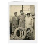 Vintage mujer en buen viaje del revestimiento mari tarjetas