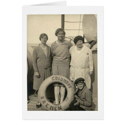 Vintage mujer en buen viaje del revestimiento mari tarjeta de felicitación