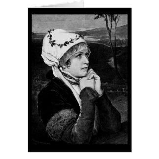 Vintage mujer - esperando y esperando felicitacion