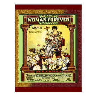 Vintage mujer para siempre postales