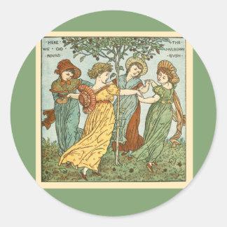 Vintage mulberry bush classic round sticker