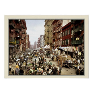 Vintage Mulberry street New York color photo Print