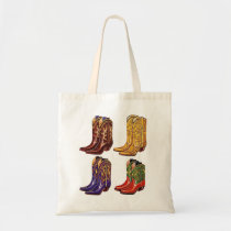 Vintage Multi-Colored Cowboy Boots Tote Bag