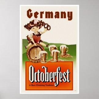 Vintage Munich Germany Octoberfest Travel Poster