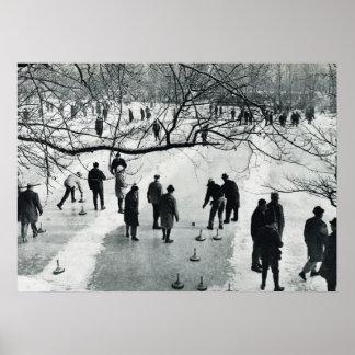 Vintage Munich, juegos del invierno en el hielo Poster
