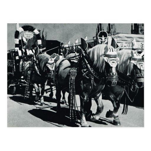 Vintage Munich, Oktoberfest, caballos de la cervec Postales