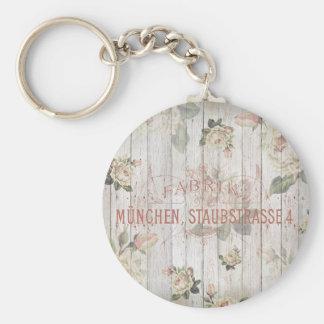 vintage,Munich,roses,typography,shabbychic,rose Basic Round Button Keychain