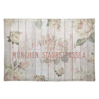 vintage,Munich,roses,typography,shabbychic,rose Cloth Placemat