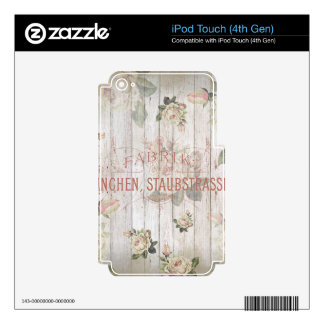 vintage,Munich,roses,typography,shabbychic,rose Decals For iPod Touch 4G