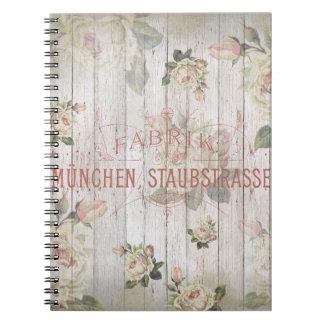 vintage,Munich,roses,typography,shabbychic,rose Notebook