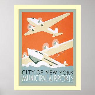 Vintage municipal de la ciudad de Nueva York Airpo Impresiones
