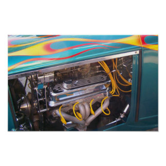 Vintage Muscle Car Heartbeat Engine Poster