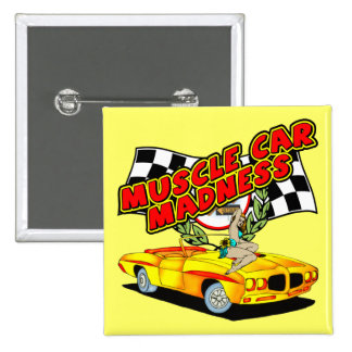 Vintage Muscle Car Madness Pinback Button
