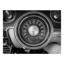Vintage Muscle Car Speedometer Poster
