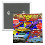 Vintage Muscle Cars Of Yesterday 2 Inch Square Button