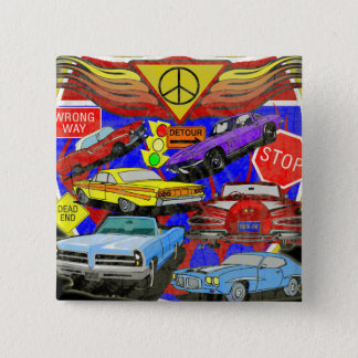 Vintage Muscle Cars Of Yesterday Pinback Button