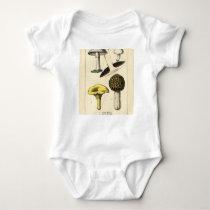Vintage Mushroom Botanical Print Baby Bodysuit