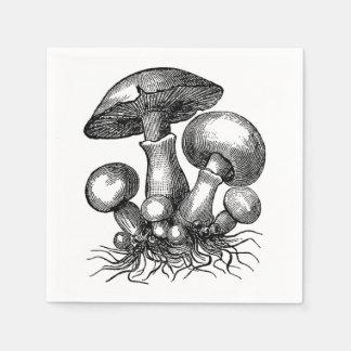 Vintage Mushroom Illustration Napkin