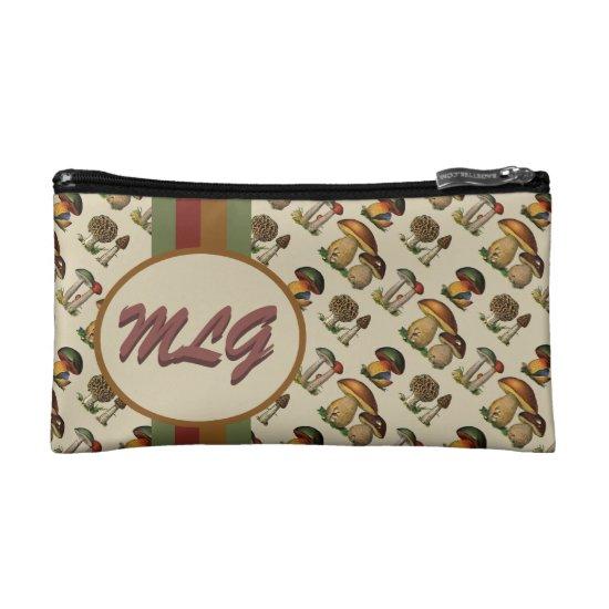 Vintage Mushroom Monogram Cosmetic Bag