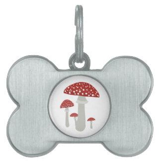 Vintage Mushroom Pet Name Tag