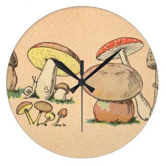 Vintage Mushroom Print Large Clock