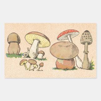 Vintage Mushroom Print Rectangular Sticker