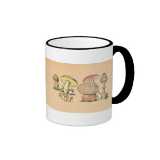 Vintage Mushroom Print Ringer Mug