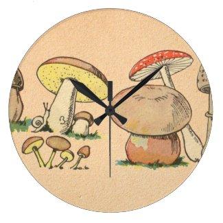 Vintage Mushroom Print Wall Clocks