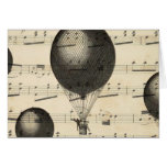 Vintage Music and Antique Hot Air Balloons Card