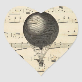Vintage Music and Antique Hot Air Balloons Heart Sticker