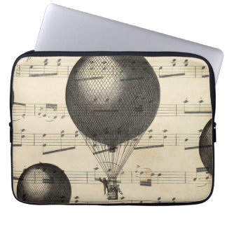 Vintage Music and Antique Hot Air Balloons Laptop Sleeves