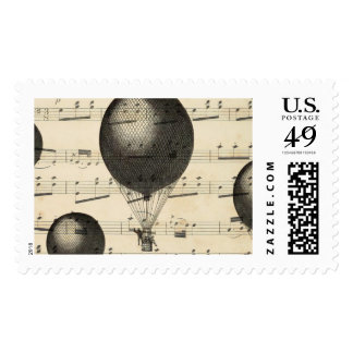 Vintage Music and Antique Hot Air Balloons Postage Stamps