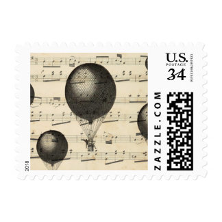 Vintage Music and Antique Hot Air Balloons Postage