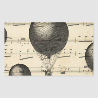 Vintage Music and Antique Hot Air Balloons Rectangular Sticker