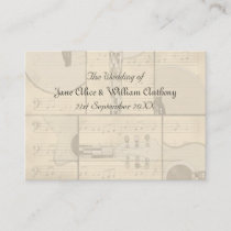 Vintage Music and Pop Art Guitar Place Cards