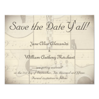 """Vintage Music and Pop Art Guitar Save the Date 4.25"""" X 5.5"""" Invitation Card"""