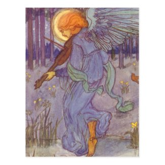 Vintage Music, Angel Playing a Violin in a Forest Postcard
