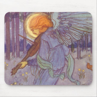 Vintage Music, Angel Playing Violin in the Forest Mouse Pad