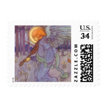 Vintage Music, Angel Playing Violin in the Forest Postage