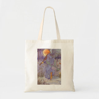 Vintage Music, Angel Playing Violin in the Forest Tote Bag