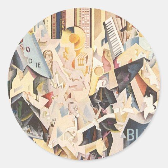 Vintage Music, Art Deco Jazz, Rhapsody in Blue Classic Round Sticker
