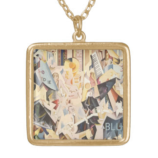 Vintage Music, Art Deco Jazz, Rhapsody in Blue Gold Plated Necklace