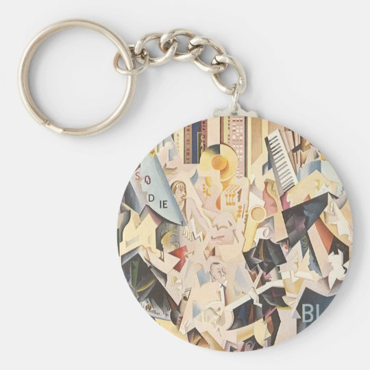 Vintage Music, Art Deco Jazz, Rhapsody in Blue Keychain