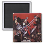 Vintage Music, Art Deco Musical Jazz Band Jamming 2 Inch Square Magnet