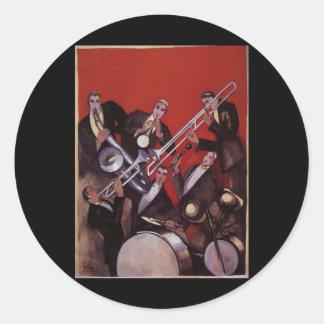 Vintage Music, Art Deco Musical Jazz Band Jamming Classic Round Sticker