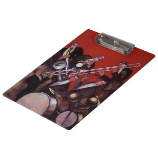Vintage Music, Art Deco Musical Jazz Band Jamming Clipboard