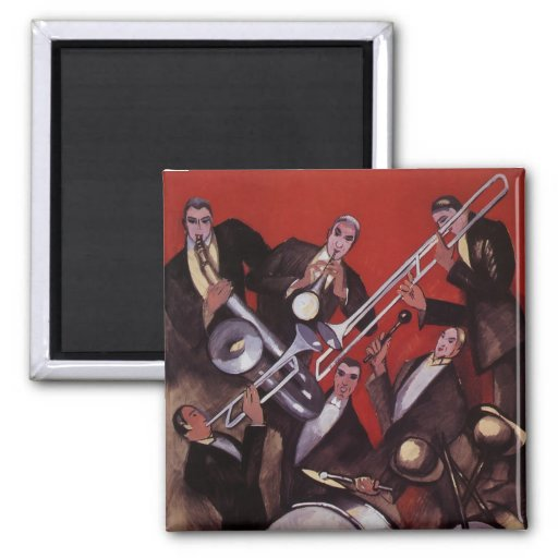 Vintage Music, Art Deco Musical Jazz Band Jamming Fridge Magnet