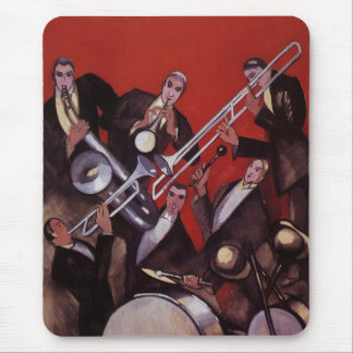 Vintage Music, Art Deco Musical Jazz Band Jamming Mouse Pad